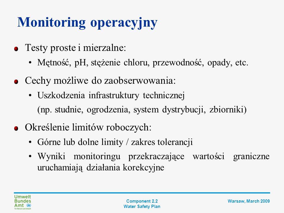 Component 2.2 Water Safety Plan Warsaw, March 2009 Określenie działań korekcyjnych Zastosować należy zaplanowane i rutynowe reakcje, kiedy wyniki monitoringu operacyjnego w punkcie kontrolnym wskazują na utratę kontroli podczas normalnego działania Działania korekcyjne muszą być specyficzne i określone z góry, aby umożliwić ich szybką realizację Większość działań korekcyjnych może być wykonywana przez Systemy automatyczne Wyszkolonych operatorów systemu