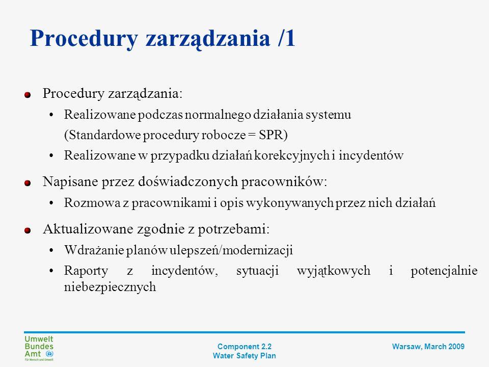 Component 2.2 Water Safety Plan Warsaw, March 2009 Procedury zarządzania /2 Zakres odpowiedzialności i dane kontaktowe osób kluczowych Jednoznaczny opis działań wymaganych w przypadku odchyleń Lokalizacja i identyfikacja SPR i potrzebnego sprzętu Lokalizacja sprzętu zapasowego Odpowiednie informacje logistyczne i techniczne