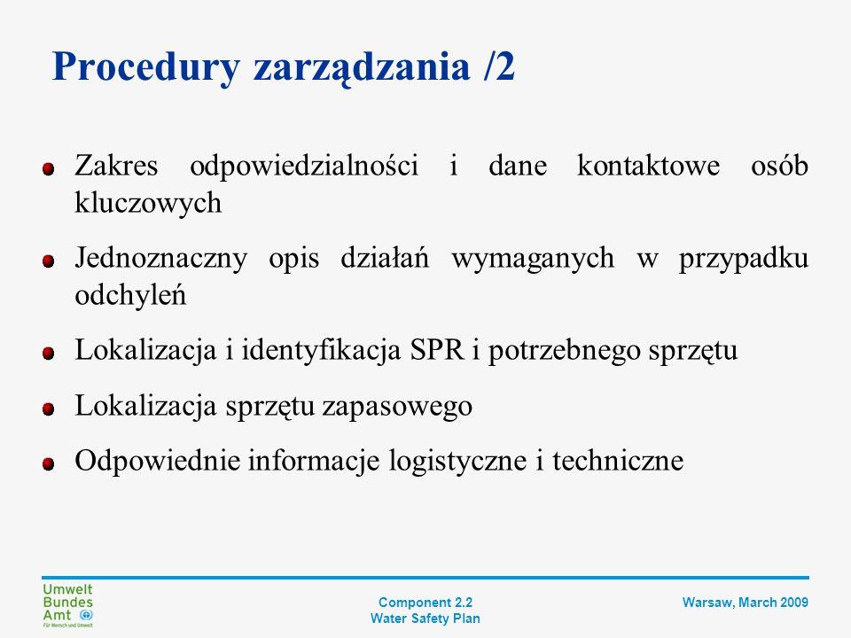 Component 2.2 Water Safety Plan Warsaw, March 2009 Krok 7 DOKUMENTACJA PBW Plan usprawnienia i modernizacji Opis systemu zaopatrzenia w wodę Kontrolowanie zagrożeń Wdrożenie środków zabezp.