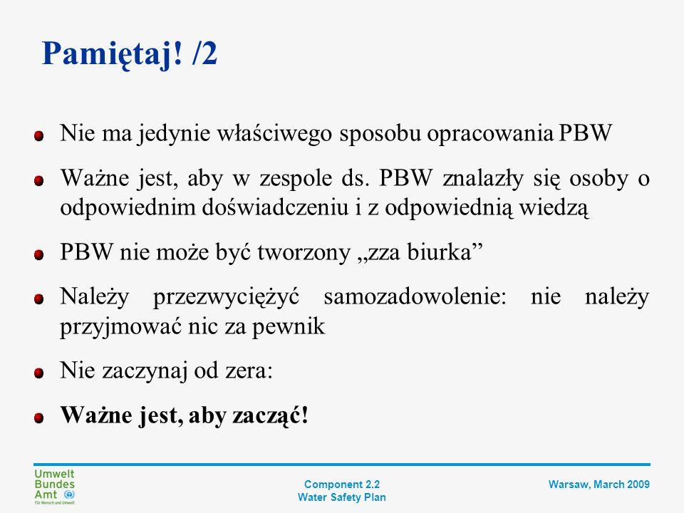 Component 2.2 Water Safety Plan Warsaw, March 2009 Nowa Zelandia Dlaczego PHRMP (Plan Zarządzania Ryzykiem Dla Zdrowia Publicznego): odpowiedzialność za zdrowie publiczne Objaśnienie zakresu prostymi słowami: Co może obniżyć jakość wody i sprawić, że będzie niebezpieczna.