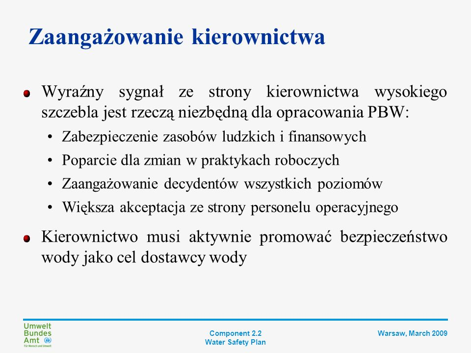 Component 2.2 Water Safety Plan Warsaw, March 2009 Zespół ds.