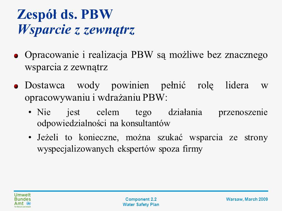 Component 2.2 Water Safety Plan Warsaw, March 2009 Krok 2 DOKUMENTACJA PBW Plan usprawnienia i modernizacji Opis systemu zaopatrzenia w wodę Kontrolowanie zagrożeń Wdrożenie środków zabezp.