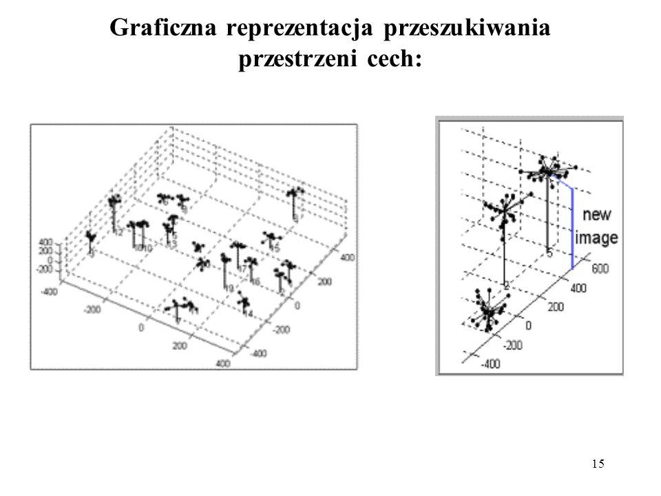 16 Ekstrakcja cech Możemy wybrać do dalszej analizy: zredukowany w wymiarach obraz (1) widmo obrazu (2) stworzyć powiązany łańcuch cech z linii i kolumn (3, 4) zastosować model elastyczny - formować wektor cech z zapisanych współrzędnych punktów konturowego modelu twarzy (5) wyodrębnić cechy lokalne takie jak: położenie źrenic, najbliższych i najdalszych punktów oczu, kącików ust itp.