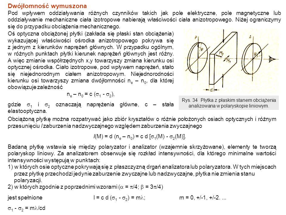 Pierwszy zbiór tworzy prążki (miejsca geometryczne) nazywane izoklinami dającymi informację o punktach próbki, w których kierunek naprężeń głównych (oś optyczna obciążonej płytki pokrywa się z jednym z kierunków naprężeń głównych) odpowiada płaszczyźnie drgań polaryzatora lub analizatora.