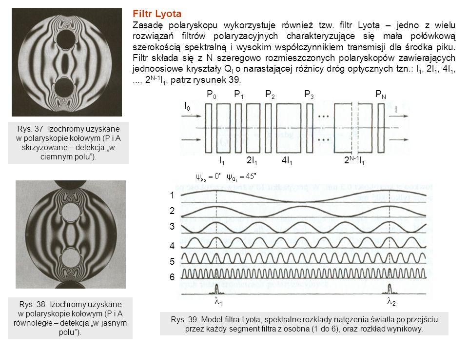 Kolejne polaryzatory układu są wzajemnie równoległe lub skrzyżowane, a znajdujące się między nimi kryształy (płytki dwójłomne) mają ten sam azymut i tworzą z polaryzatorami kąt 45 0.