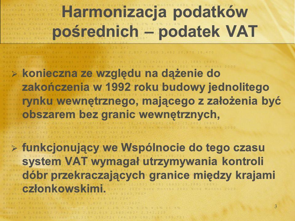 4 Harmonizacja podatków pośrednich – podatek VAT 2 zasady opodatkowania: w kraju pochodzenia, w kraju przeznaczenia.