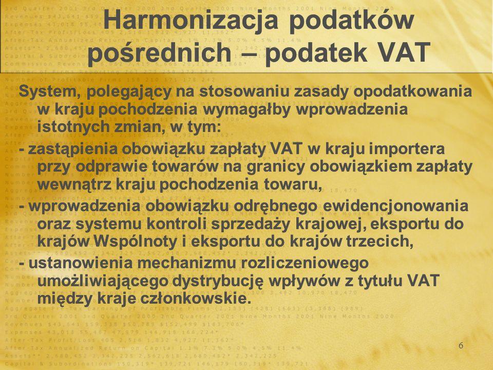7 Harmonizacja podatków pośrednich – podatek VAT Stawki podatku VAT Stawki podatku VAT Stawki normalneStawki zredukowaneStawki super zredukowane min 15 % min 5 % niższe od 5 %