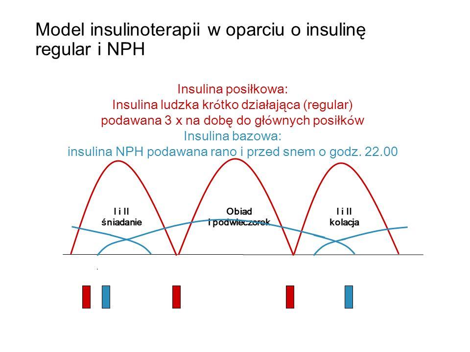 ŚniadanieObiadPodwieczorekKolacja Insulina posiłkowa: analog szybko działający podawany do każdego posiłku Insulina bazowa: analog długo działający Przykład podawania insuliny w funkcjonalnej insulinoterapii