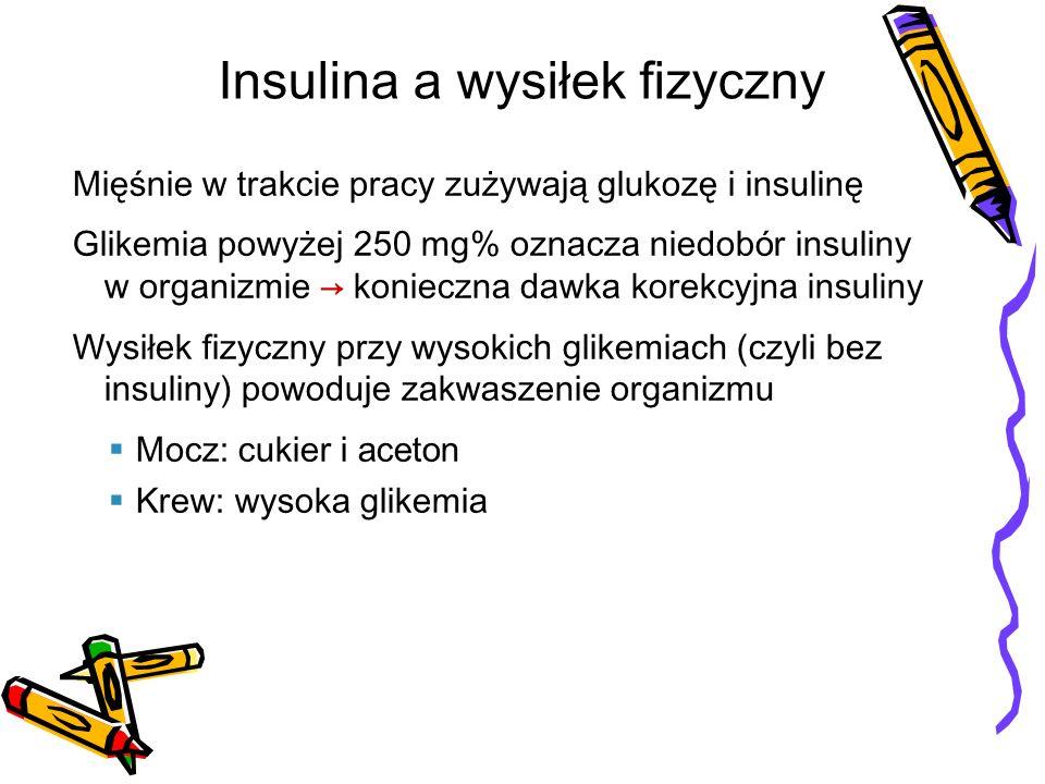 Glikemia powyżej 250 mg% wymaga przed wysiłkiem fizycznym dawki korekcyjnej insuliny Glikemia powyżej 300 mg% należy sprawdzić czy nie ma acetonu w moczu Nie ćwicz gdy glikemia powyżej 300 mg% i obecny aceton w moczu należy podać insulinę, pić wodę z cytryną, znormalizować glikemię Wysokie glikemie a wysiłek fizyczny