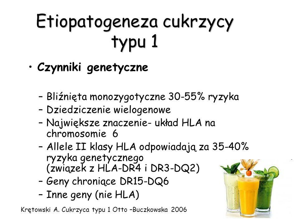 Etiopatogeneza cukrzycy typu 1 Czynniki środowiskowe –Infekcje wirusowe –Niedobór witaminy D –Teoria higieny –Teoria akceleracji –Żywność: Związki toksyczne (m.in.N-nitrozo-pochodne) Wczesne karmienie mlekiem krowim Gluten –Stres Zipris D Clinical Immunology 2009