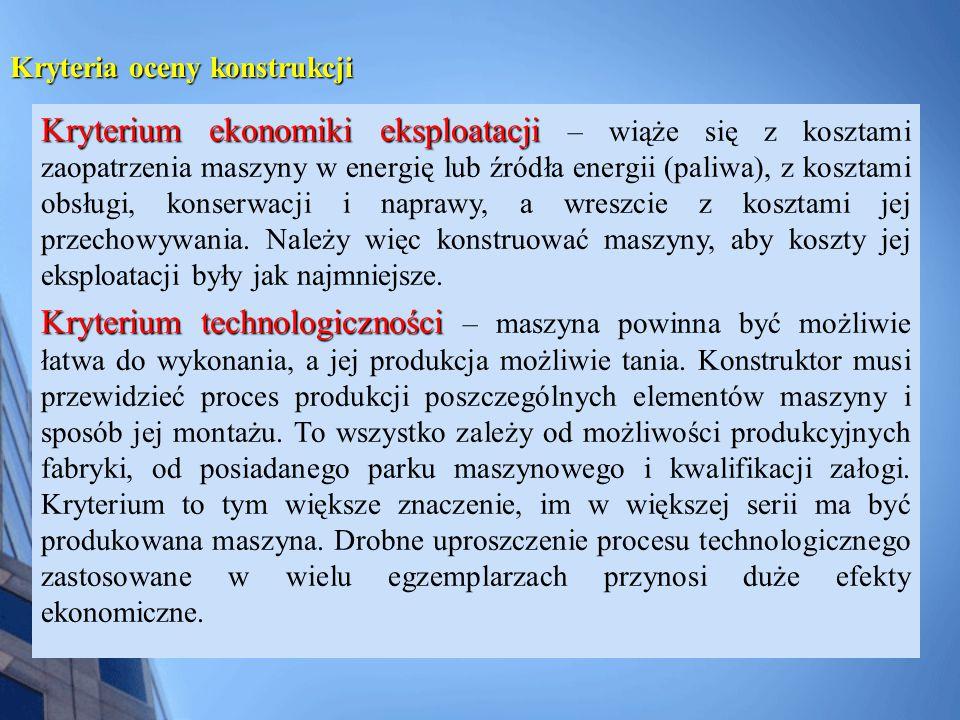 Kryterium ergonomii i estetyki Kryterium ergonomii i estetyki – maszyny są konstruowane dla ludzi, dlatego ich konstrukcja powinna być dla nich przyjazna, łatwa i nie męcząca.