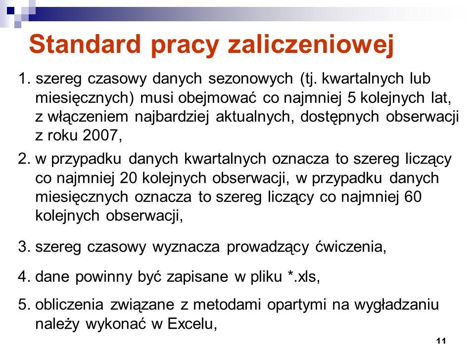 12 Standard pracy zaliczeniowej 6.