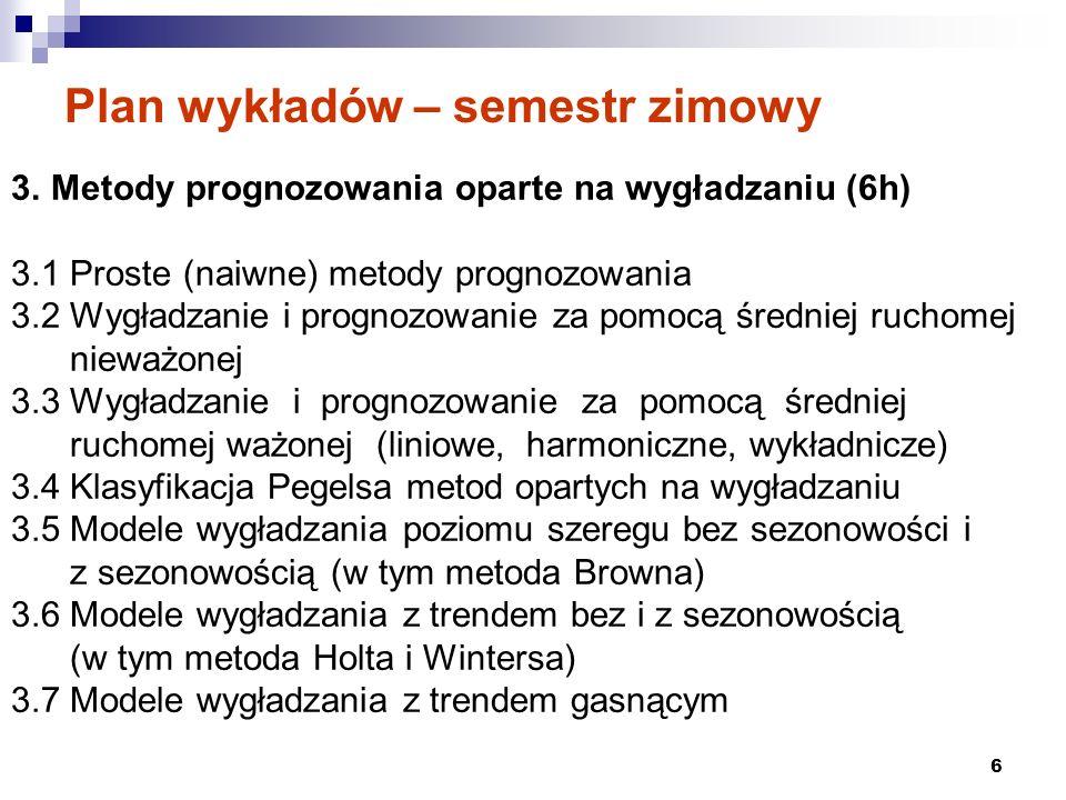 7 LITERATURA 1.Czerwiński Z., Guzik B., Prognozowanie ekonometryczne, PWE, Warszawa 1980, 2.