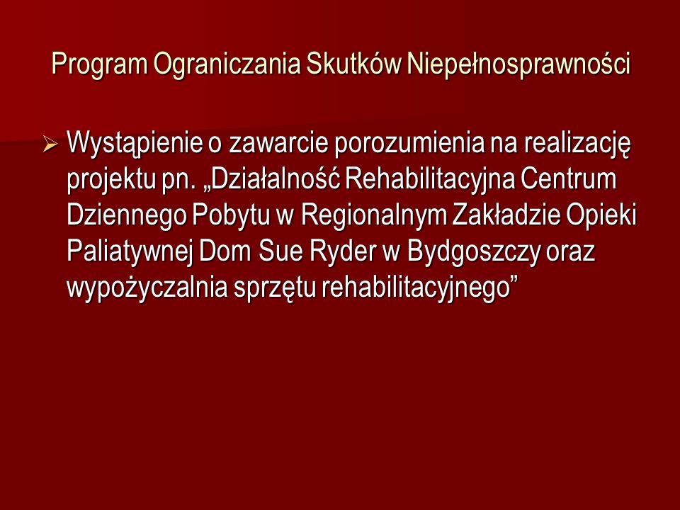 Program Ograniczania Skutków Niepełnosprawności Realizator zadania – Regionalny Zespół Opieki Paliatywnej Dom Sue Ryder w Bydgoszczy Realizator zadania – Regionalny Zespół Opieki Paliatywnej Dom Sue Ryder w Bydgoszczy Uczestnicy – osoby, które utraciły sprawność organizmu, są w okresie diagnozowania możliwości oraz potrzeb i jeszcze nie posiadają orzeczenia o niepełnosprawności oraz osoby posiadające takie orzeczenie.