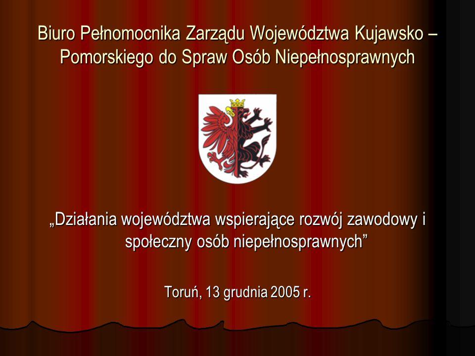 Limit środków przekazany przez PFRON do dyspozycji Województwa Kujawsko – Pomorskiego w latach 2003 - 2004 Lata Limit środków PFRON w zł 2003 5 799 337,00 2004 5 714 734,00 2005 6 221 167,00 Razem 17 735 238,00