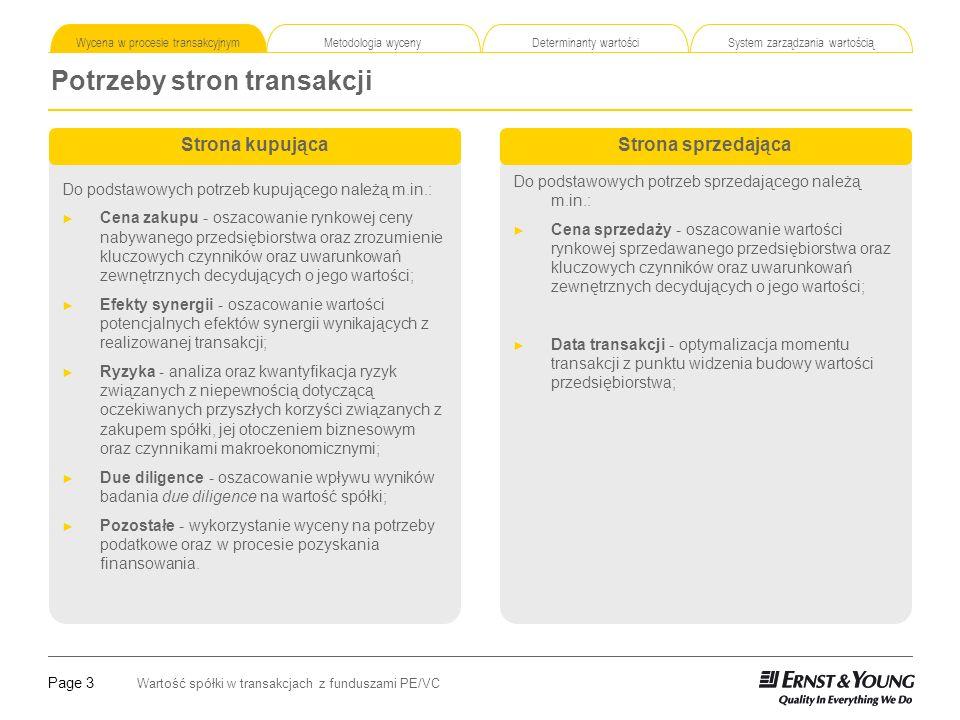 Page 4 Wartość spółki w transakcjach z funduszami PE/VC Korzyści wynikające z wykorzystania wyceny Wycena w procesie transakcyjnym Metodologia wyceny Determinanty wartości System zarządzania wartością Niezależnie od fazy rozwoju przedsiębiorstwa oraz przesłanek do podjęcia decyzji o rozpoczęciu transakcji, przeprowadzenie wyceny niesie uniwersalne korzyści Wybór optymalnego momentu na dokonanie sprzedaży lub zakupu przedsiębiorstwa Wsparcie w wyborze lub odrzuceniu strategii biznesowych Identyfikacja kluczowych czynników wartości spółki Optymalizacja procesów biznesowych przyczyniających się do kreacji wartości przedsiębiorstwa Wsparcie przy budowaniu oczekiwań cenowych Ustalenie szacunkowej wartości spółki