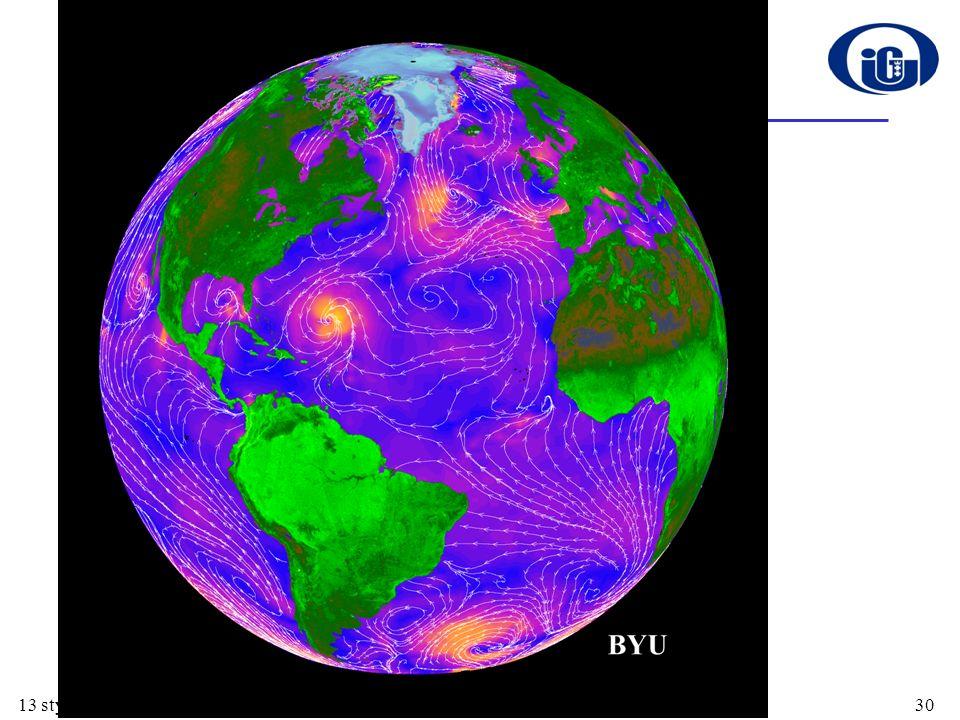 Pole wiatru Prognozowanie pogody Monitoring sztormów –identyfikacja, kierunek rozwoju, struktura i siła w samych tylko Stanach Zjednoczonych sztormy w XX wieku spowodowały śmierć blisko 20 000 osób Wspomaganie wyboru tras statków handlowych Wspomaganie rozwoju przemysłu naftowego Minimalizacja efektów rozlewów olejowych Produkcja żywności –np.