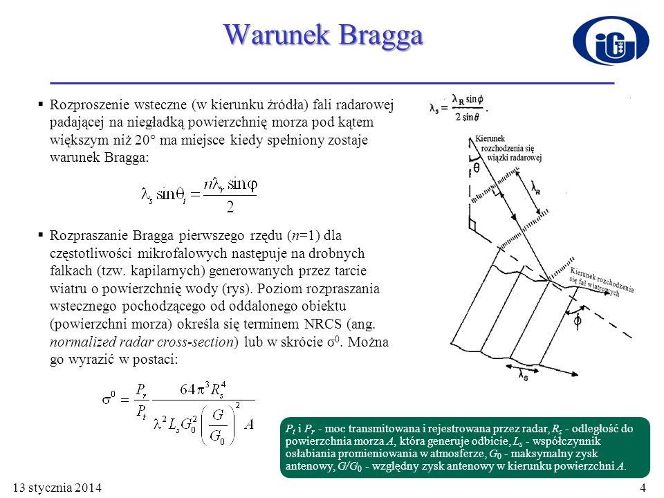 Analiza danych skaterometru pokazała, że σ 0 rośnie z prędkością wiatru, maleje ze wzrostem kąta padania wiązki radarowej i zależy również od kierunku padania wiązki w stosunku do kierunku wiatru.