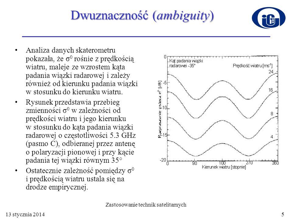 Np.zależność pomiędzy σ 0 i prędkością wiatru dla AMI (ang.
