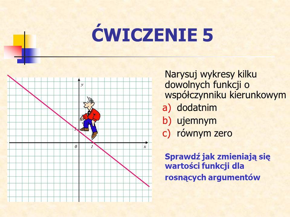 ĆWICZENIE 5 Narysuj wykresy kilku dowolnych funkcji o współczynniku kierunkowym a)dodatnim b)ujemnym c)równym zero Sprawdź jak zmieniają się wartości funkcji dla rosnących argumentów