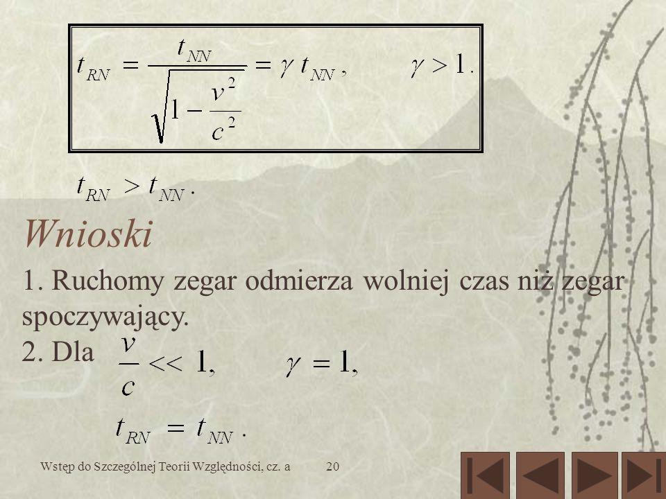 Wstęp do Szczególnej Teorii Względności, cz.a21 J.