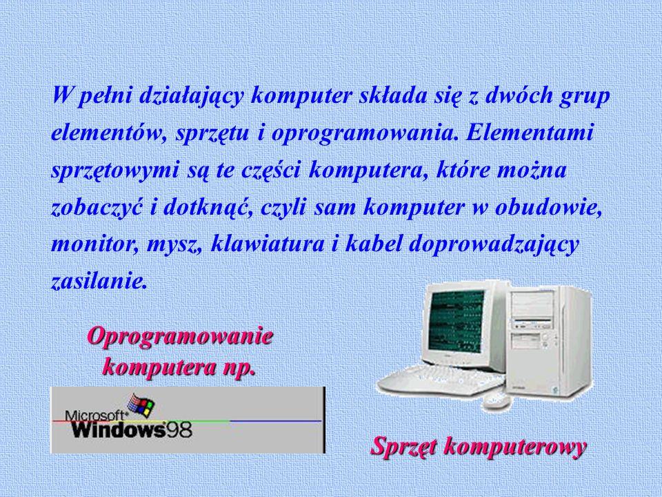 W pełni działający komputer składa się z dwóch grup elementów, sprzętu i oprogramowania.