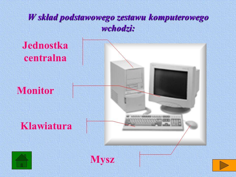 Jednostka centralna Monitor Mysz Klawiatura W skład podstawowego zestawu komputerowego wchodzi: