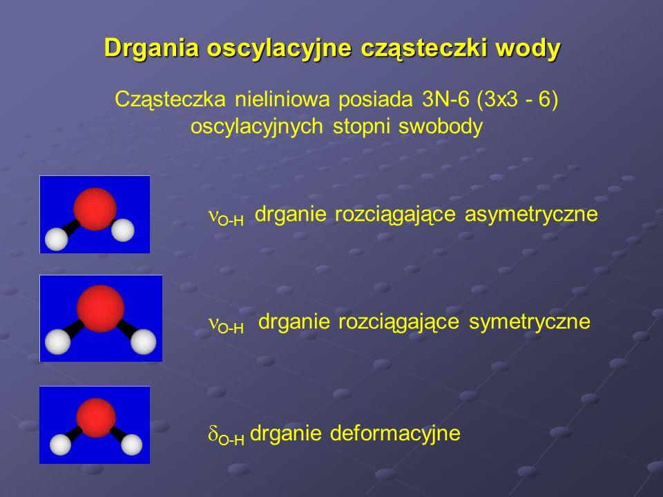 Podział zakresu średniej podczerwieni 4000 – 400 cm -1 4000-2500 cm -1 drgania rozciągające wiązań pojedynczych pomiędzy atomami znacznie różniącymi się masą np.
