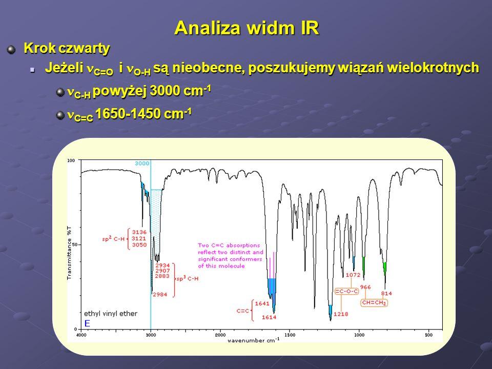 Analiza widm IR Krok piąty brak grup funkcyjnych świadczy o obecności alkanu lub halogenopochodnej brak grup funkcyjnych świadczy o obecności alkanu lub halogenopochodnej