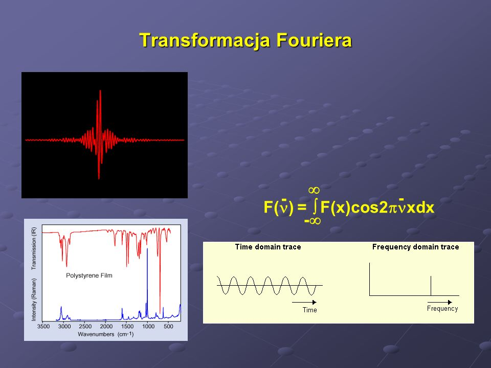 Przewaga spektrometrów fourierowskich nad przyrządami dyspersyjnymi Duża szybkość zbierania danych – zysk multipleksowy Brak szczelin ograniczających zdolność rozdzielczą – zysk aperturowy Duża precyzja skali częstości – samoskalowanie Inne korzyści: FT-IR są odporne na przypadkowe promieniowanie.