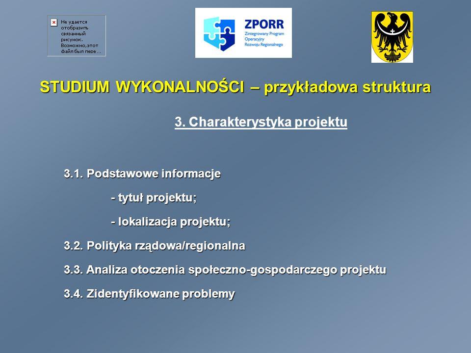 STUDIUM WYKONALNOŚCI – przykładowa struktura 3.Charakterystyka projektu – c.