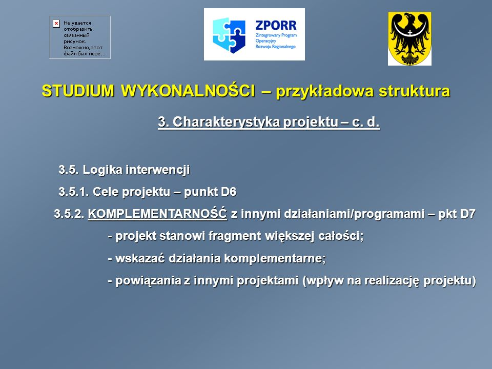 STUDIUM WYKONALNOŚCI – przykładowa struktura 3.Charakterystyka projektu – c.d.