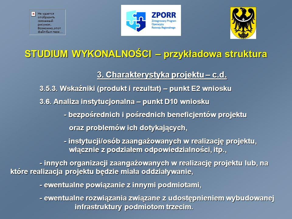 STUDIUM WYKONALNOŚCI – przykładowa struktura 3.Charakterystyka projektu 3.6.1.