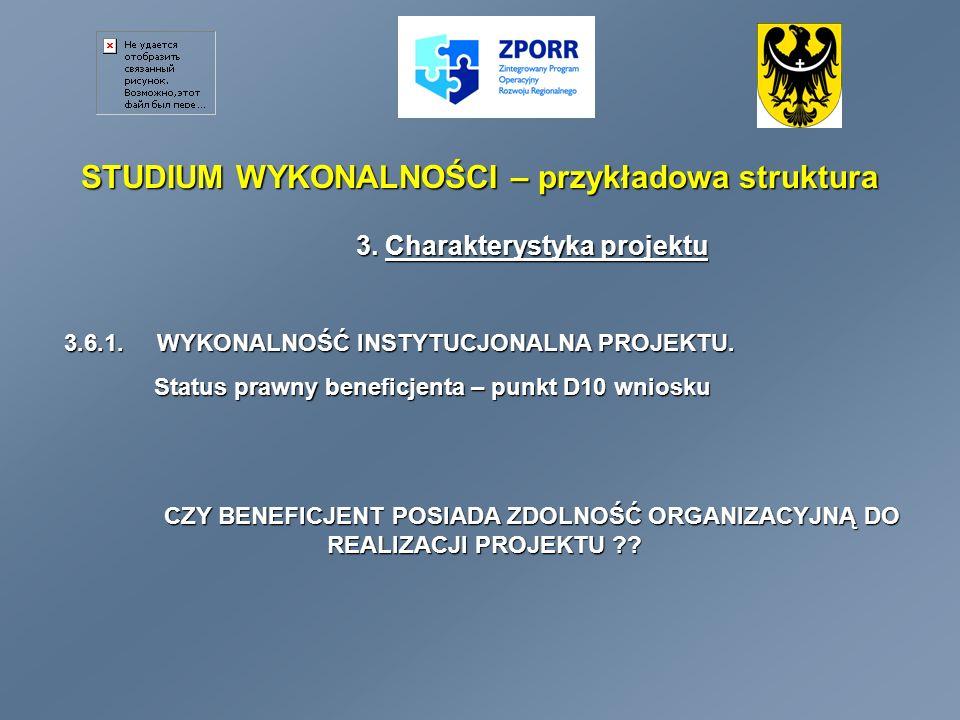 STUDIUM WYKONALNOŚCI – przykładowa struktura 3.Charakterystyka projektu 3.6.2.
