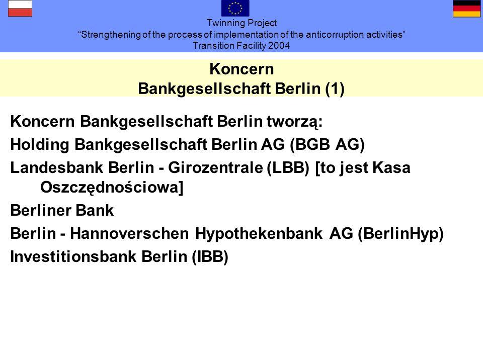 Twinning Project Strengthening of the process of implementation of the anticorruption activities Transition Facility 2004 Koncern Bankgesellschaft Berlin (2) IBG Immobilien- und Baumanagement der Bankgesellschaft Berlin GmbH (IBG), [to jest część koncernu zajmująca się nieruchomościami] ok.