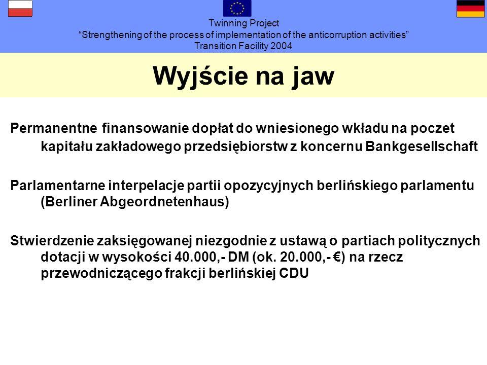 Twinning Project Strengthening of the process of implementation of the anticorruption activities Transition Facility 2004 Organizacja Dochodzenie od lutego 2001 roku prowadzone przez Prokuraturę w Berlinie i LKA 32 (łącznie ok.