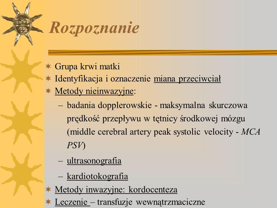 Profilaktyka dotyczy wyłącznie ryzyka immunizacji Rh(D) (97%) domięśniowe podanie immunoglobuliny anty - D, w ciągu 72 godzin, przy braku przeciwciał anty-D 50 g - przed 12tc - poronienie, AC, CVS 150 g – poród lub AC, KC w drugim lub trzecim trymestrze ciąży 300 g – poród operacyjny, ciąża mnoga w masywnym przecieku płodowo-matczynym: 300 g na każde 20 ml przetoczonej krwi płodu 300 g - zalecane w 28 - 30 tc (profilaktyka śródciążowa)