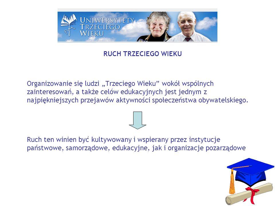 RUCH TRZECIEGO WIEKU > UNIWERSYTETY TRZECIEGO WIEKU Jedną ze specyficznych form aktywności seniorek i seniorów są Uniwersytety Trzeciego Wieku, które funkcjonują w wielu państwach świata.
