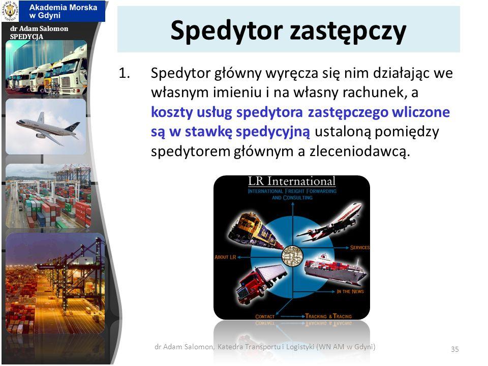 dr Adam Salomon SPEDYCJA Spedytor odbiorczy i borderowy 1.Spedytor odbiorczy działa w miejscu odbioru ładunku – dostarcza lub wydaje go odbiorcy.