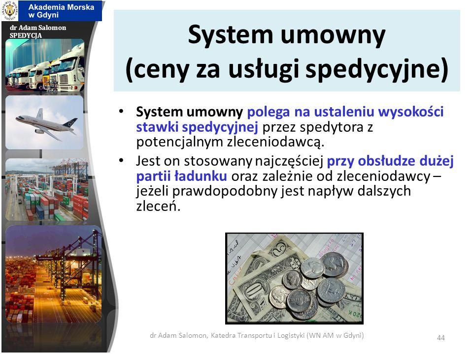 dr Adam Salomon SPEDYCJA System taryfowy (ceny za usługi spedycyjne) System taryfowy stosowany jest tam gdzie występuje konieczność obsługi spedycyjnej określonej liczby typowych przesyłek drobnicowych.