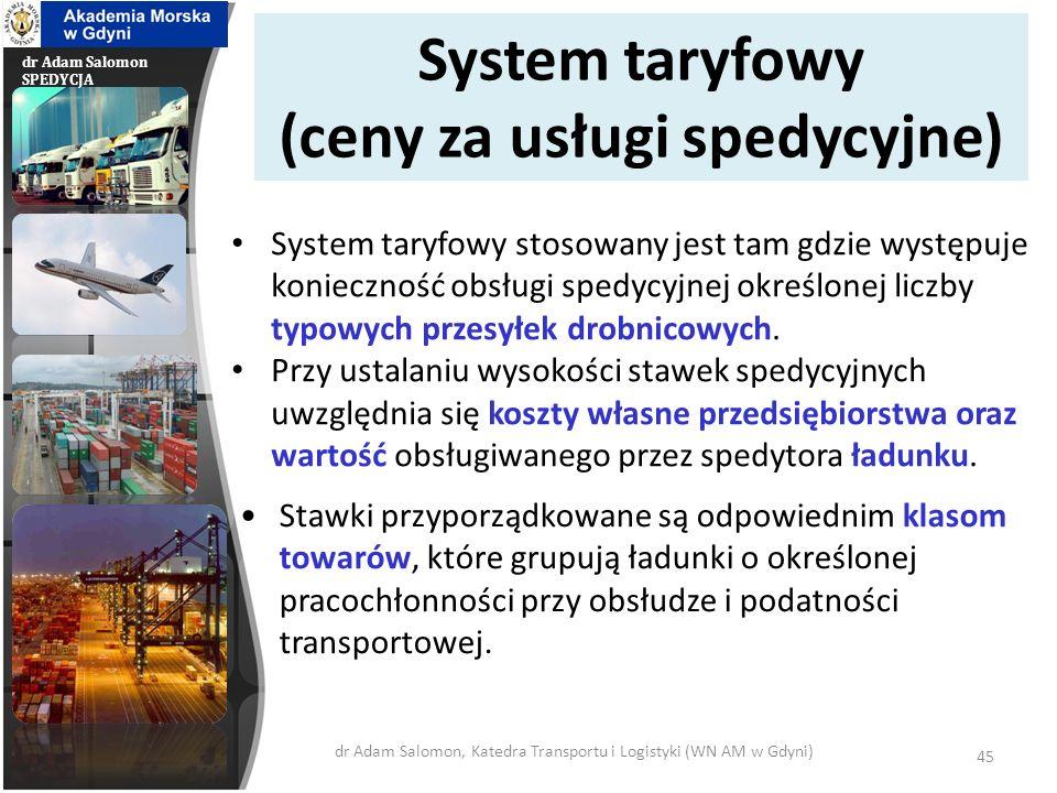 dr Adam Salomon SPEDYCJA Budowa stawek (ceny za usługi spedycyjne) Budowa stawek opiera się na zasadzie systemu wykładowego lub systemu ryczałtowego.