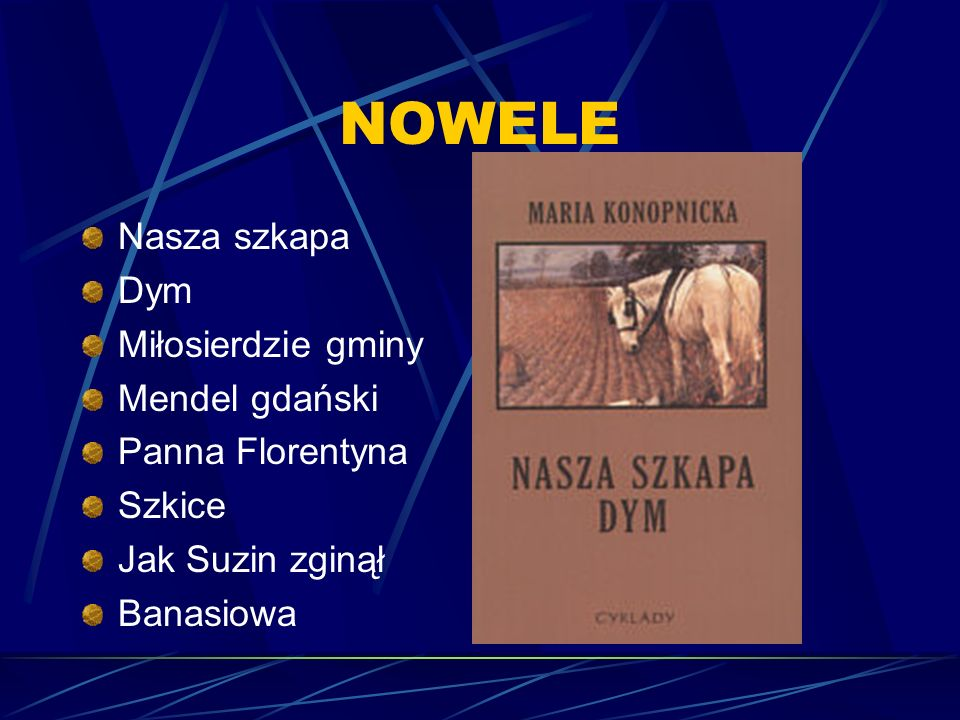 NOWELE Nasza szkapa Dym Miłosierdzie gminy Mendel gdański Panna Florentyna Szkice Jak Suzin zginął Banasiowa
