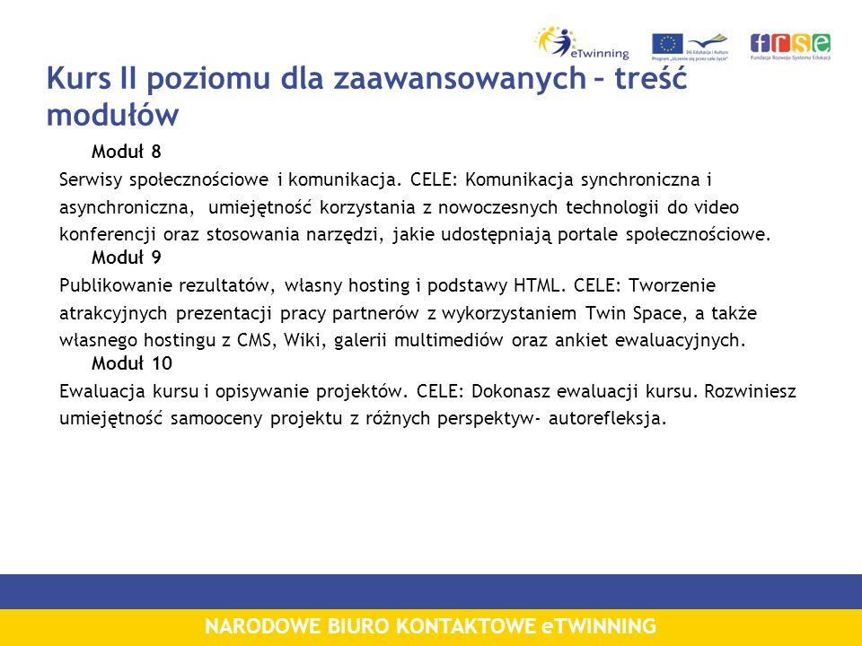 NARODOWE BIURO KONTAKTOWE eTWINNING Kursy Tydzień z...