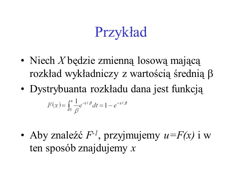 Przykład Funkcja odwrotna przyjmuje wartość