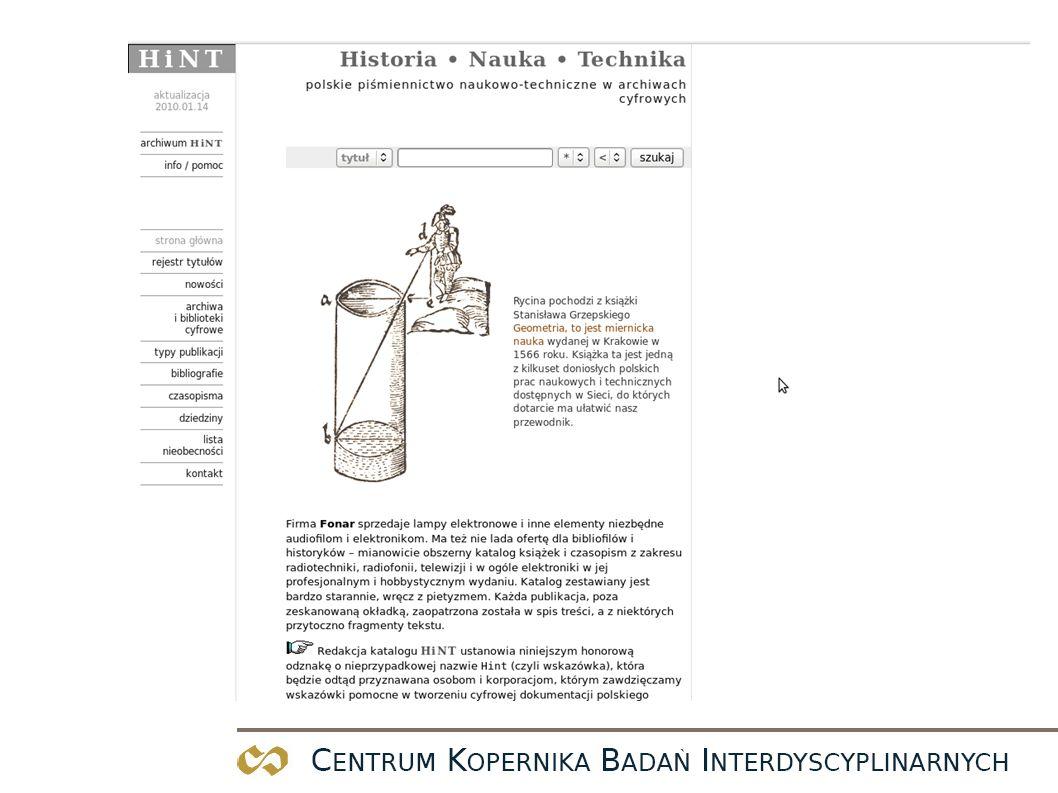 3.c.Archiwum Cyfrowe Połączonych Bibliotek WFiS UW, IFiS PAN i PTF Otwarte w 27 kwietnia 2009 r.