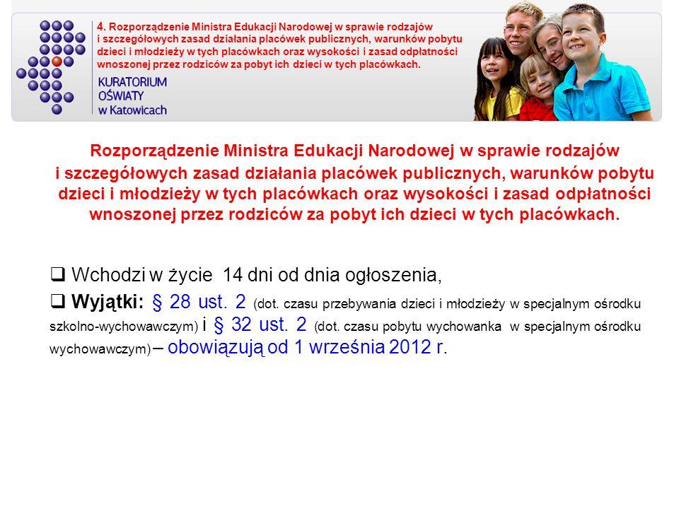 Rozporządzenie szczegółowo określa: rodzaje i szczegółowe zasady działania publicznych: placówek oświatowo-wychowawczych: placówek wychowania pozaszkolnego; szkolnych schronisk młodzieżowych ( całorocznych i sezonowych); młodzieżowych ośrodków wychowawczych, młodzieżowych ośrodków socjoterapii, specjalnych ośrodków szkolno-wychowawczych, specjalnych ośrodków wychowawczych - dla dzieci i młodzieży wymagających stosowania specjalnej organizacji nauki, metod pracy i wychowania; ośrodków rewalidacyjno-wychowawczych – umożliwiających dzieciom i młodzieży z upośledzeniem umysłowym w stopniu głębokim, w tym z niepełnosprawnościami sprzężonymi, realizację obowiązku rocznego przygotowania przedszkolnego, obowiązku szkolnego i obowiązku nauki; placówek zapewniających opiekę i wychowanie uczniom w okresie pobierania nauki poza miejscem stałego zamieszkania: burs; domów wczasów dziecięcych; warunki pobytu dzieci i młodzieży w placówkach; wysokość i zasady odpłatności wnoszonej przez rodziców za pobyt ich dzieci w placówkach