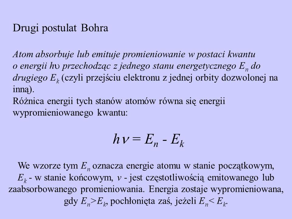 Absorpcja fotonu Przejście elektronu z jednej orbity na drugą jest związane z emisją lub absorpcją fotonu Emisja fotonu