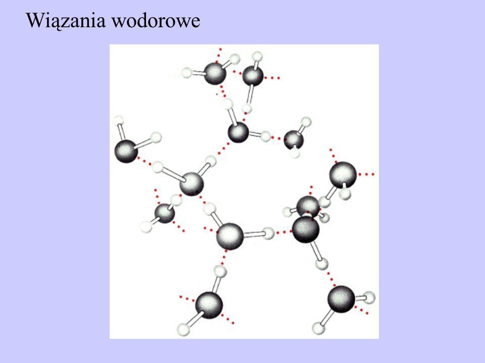 Siły van der Waalsa Siły van der Waalsa są bardzo słabymi oddziaływaniami zachodzącymi pomiędzy wszystkimi typami atomów (zarówno polarnymi jak i niepolarnymi).