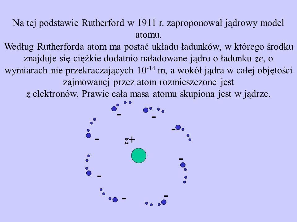 Wyniki doświadczeń nad rozpraszaniem cząstek świadczą na korzyść zaproponowanego przez Rutherforda jądrowego modelu atomu.