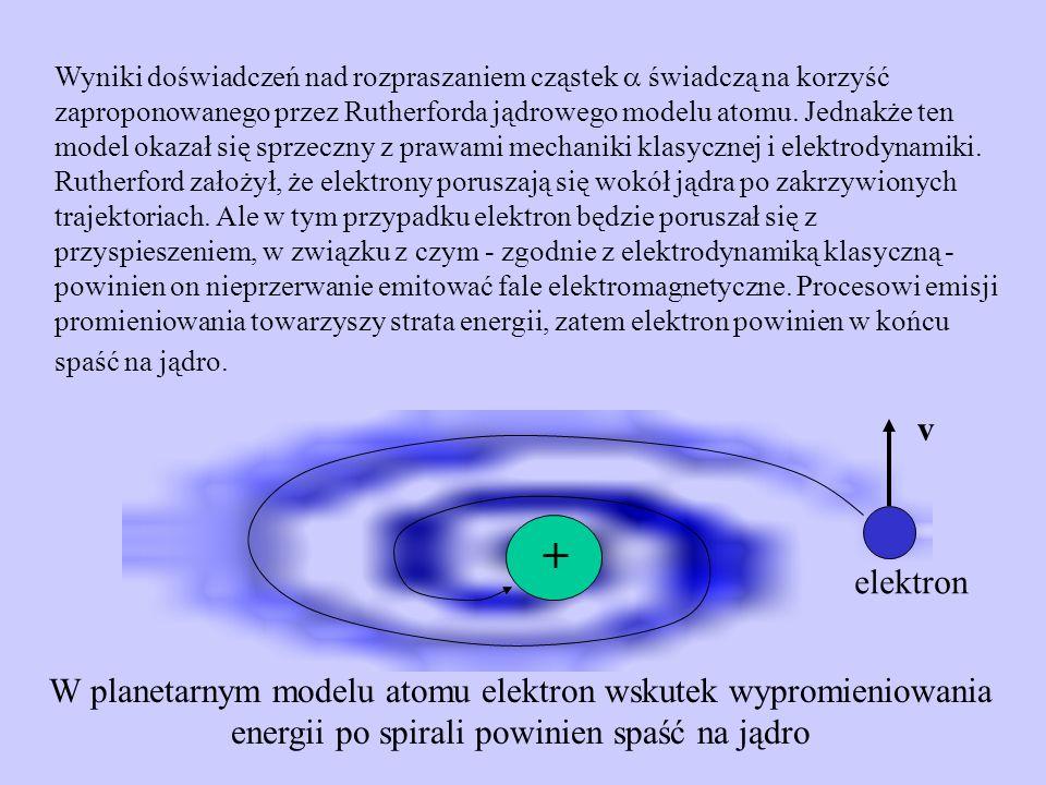 Model Bohra Jądrowy model atomu Rutherforda w połączeniu z klasyczną mechaniką i elektrodynamiką nie jest w stanie wyjaśnić ani stabilności atomu, ani charakteru widma atomowego.
